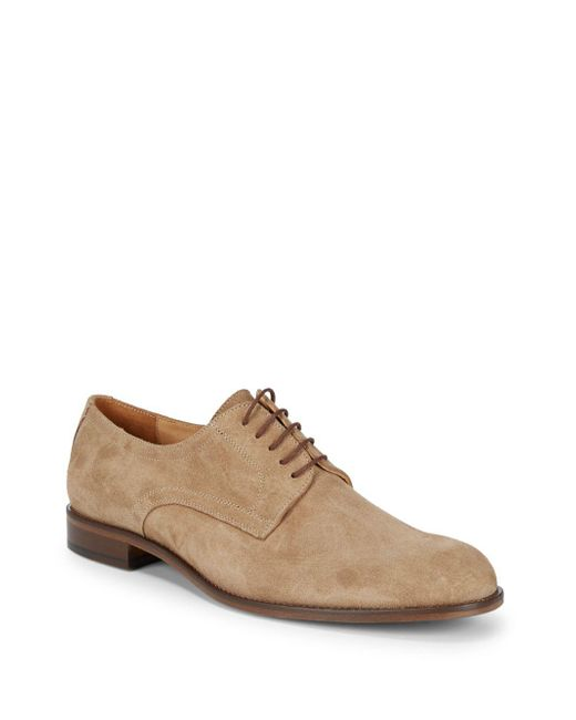 Saks Fifth Avenue - Brown Suede Plain-toe Blucher Shoes for Men - Lyst