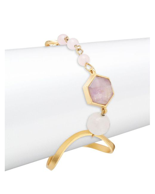 Stephanie Kantis - Metallic Organic Rose Quartz, Quartz And Amethyst Bracelet - Lyst