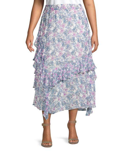 Vince Camuto Blue Plus Botanical-print Ruffled Midi Skirt
