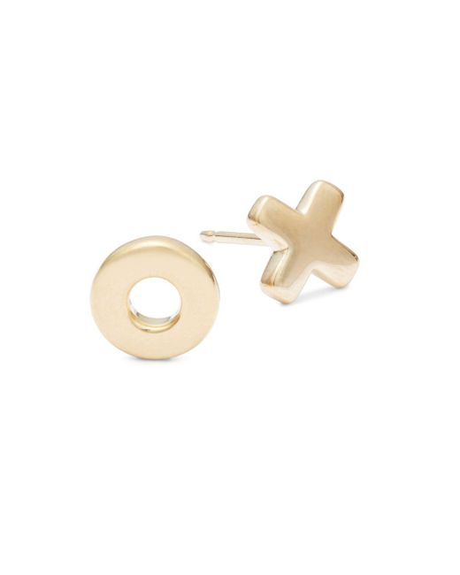 Saks Fifth Avenue - Metallic Xo 14k Gold Earrings - Lyst