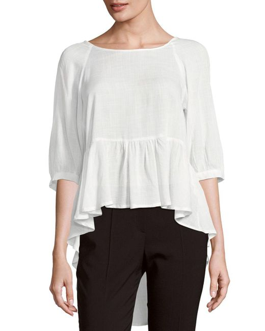 French Connection | White Ruffled Slub Top | Lyst