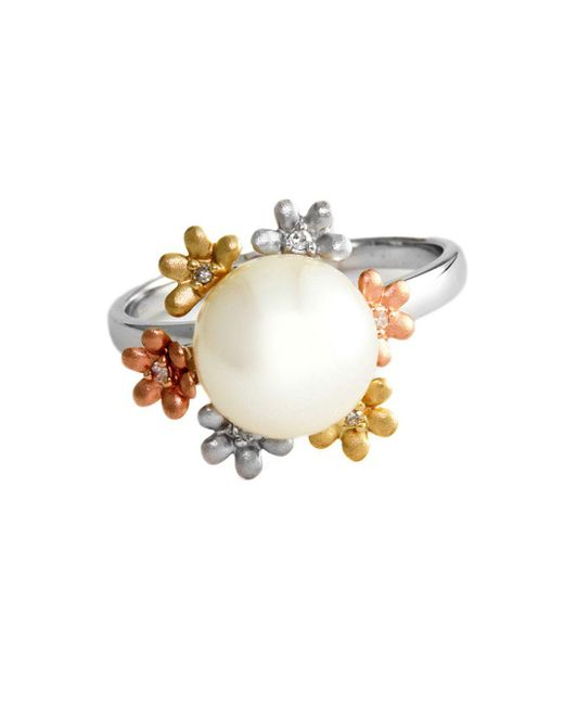 Effy | 14kt White Yellow And Rose Gold Freshwater Pearl Ring With Diamond Accents | Lyst