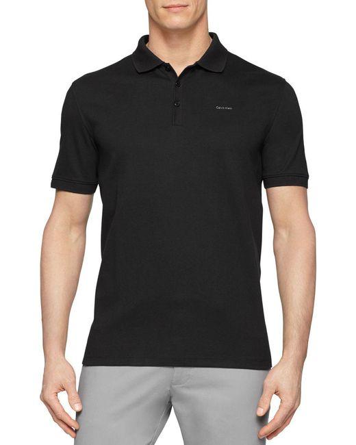 Calvin Klein   Black Cotton Polo Shirt for Men   Lyst