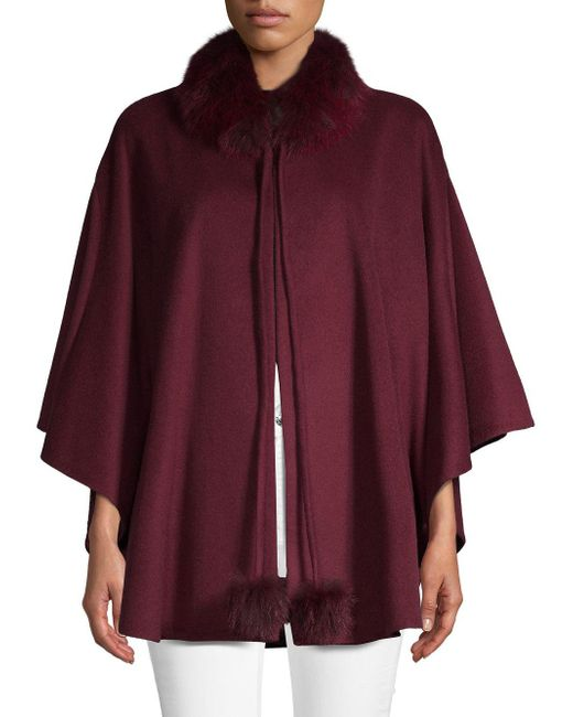 Belle Fare - Purple Dyed Fox Fur-trimmed Cashmere Cape - Lyst