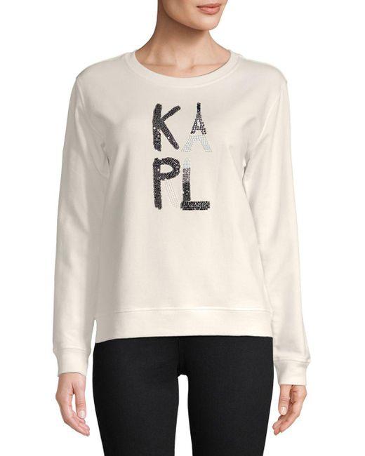 Karl Lagerfeld - White Embellished Logo Crewneck - Lyst