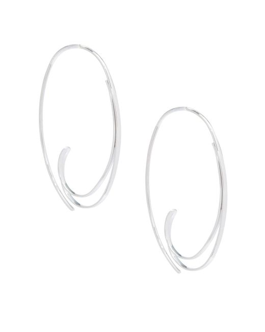Saks Fifth Avenue - Metallic Sterling Silver Open Paisley Hoop Earrings - Lyst