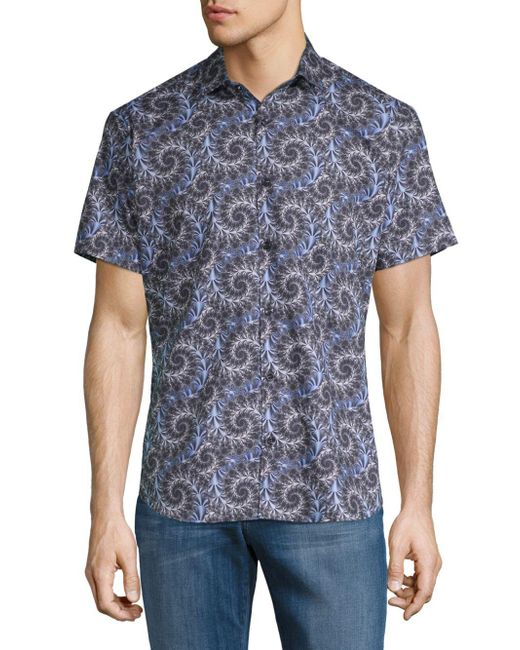 Jared Lang - Blue Printed Short-sleeve Button-down Shirt for Men - Lyst