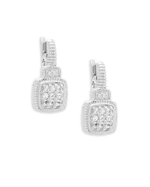 Judith Ripka - Metallic White Sapphire Cushion Drop Earrings - Lyst