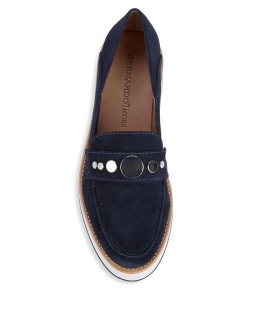be577891783 ... Bernardo - Blue Suede Platform Loafers - Lyst ...