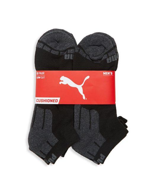PUMA - Black Six-pack Logo Cotton Socks for Men - Lyst