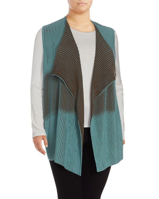 Lafayette 148 New York - Blue Bicolor Pleated Stitch Cardigan - Lyst