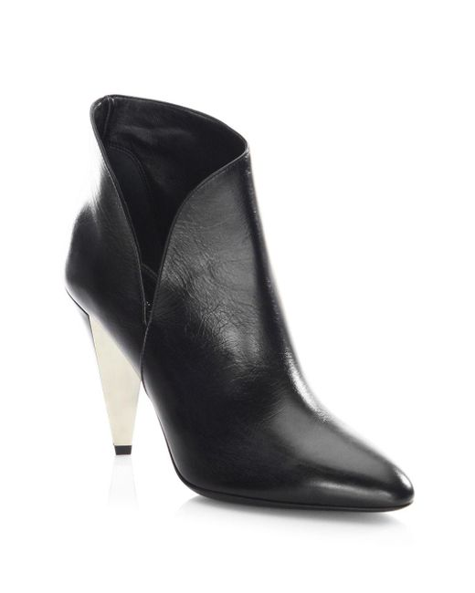 Michael Kors - Black Angelina Leather Point Toe Booties - Lyst