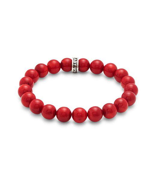 King Baby Studio - Red Sterling Silver Beaded Bracelet - Lyst