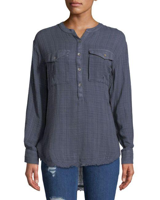 Free People - Blue Long-sleeve Frayed-hem Shirt - Lyst