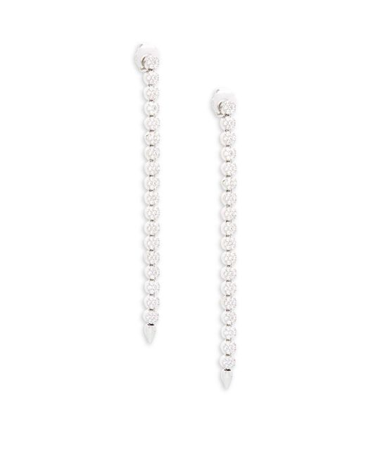 CZ by Kenneth Jay Lane - Metallic Cubic Zirconia Pave Disk Linear Drop Earrings - Lyst