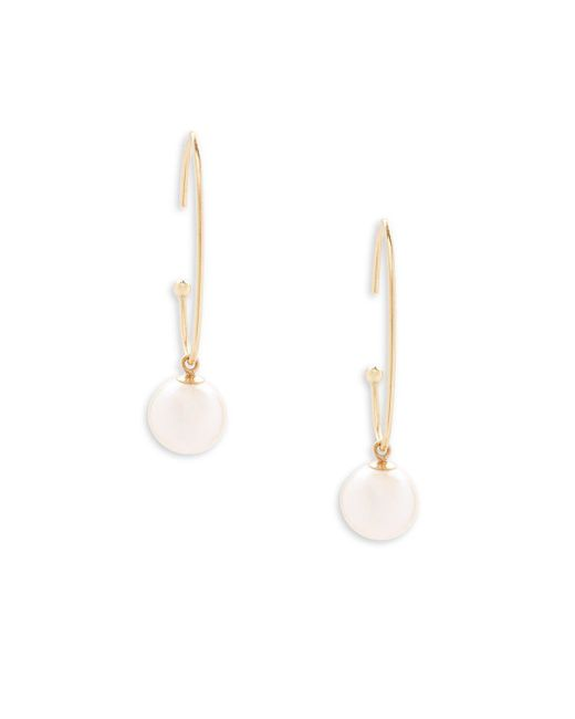 Belpearl - 8mm White Freshwater Pearl & 18k Yellow Gold Hoop Earrings - Lyst