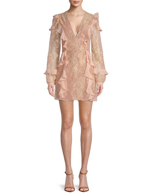 For Love & Lemons - Pink Bumble Ruffle Long-sleeve Mini Dress - Lyst