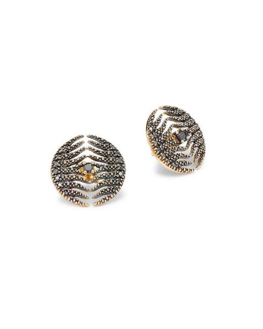 Mizuki - Metallic Feather 18k Yellow Gold Earrings - Lyst