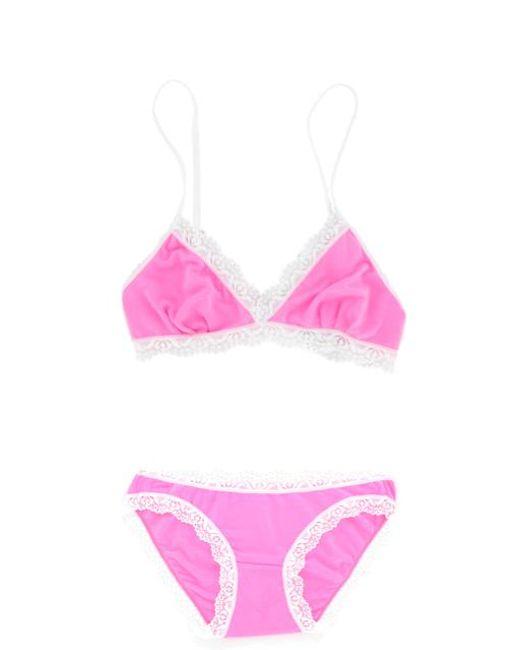 Cheek Frills - Bralet And Knicker Pink - Lyst