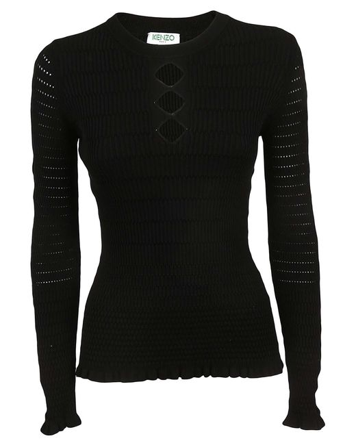 KENZO - Black Fitted Lacehole Sweater - Lyst