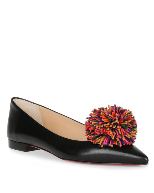 Christian Louboutin - Multicolor Konstantina Black Leather Pompom Ballerina - Lyst