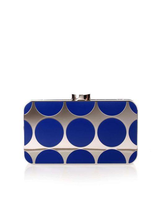 Manolo Blahnik | Mina Royal Blue Shiny Silver Clutch | Lyst