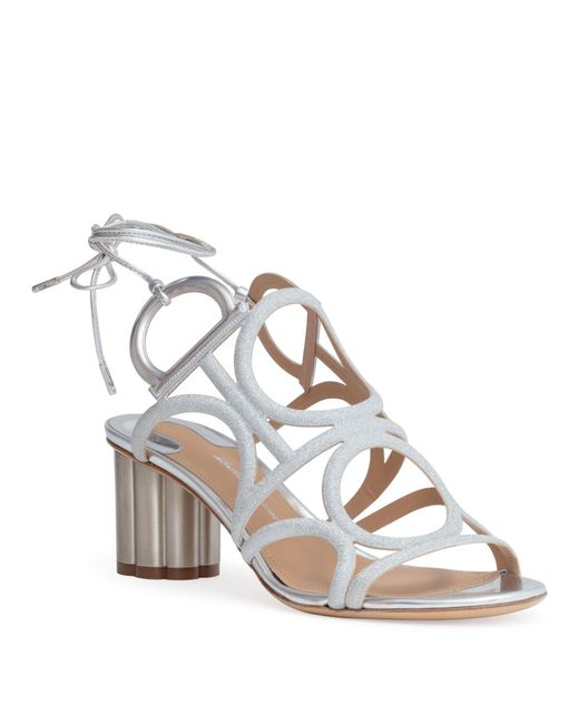 5ad1772d3f08 ... Ferragamo - Metallic Flower Heel Gancini Sandals - Lyst ...