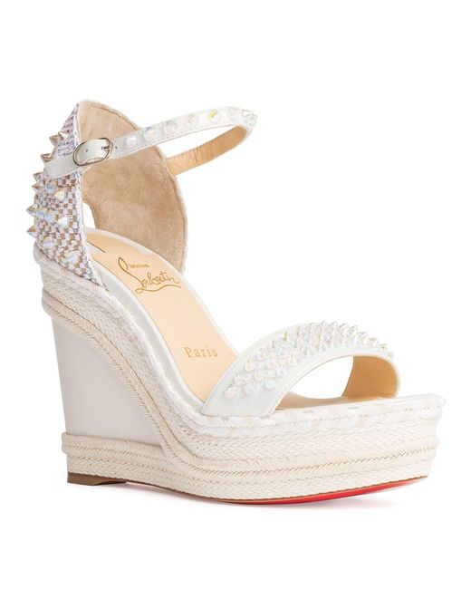 bde2d874069a Christian Louboutin Madmonica 120 White Leather Wedges in White - Lyst