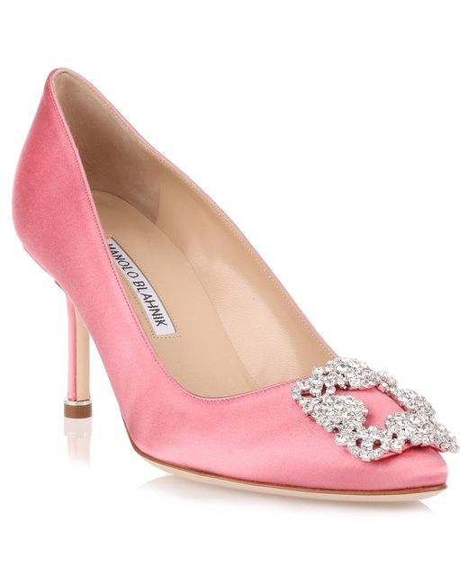 Manolo Blahnik - Hangisi 70 Satin Pump Pink Clear Crystals Us - Lyst