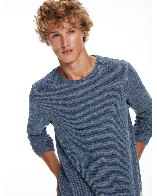 Scotch & Soda | Blue Structured Melange Sweatshirt for Men | Lyst
