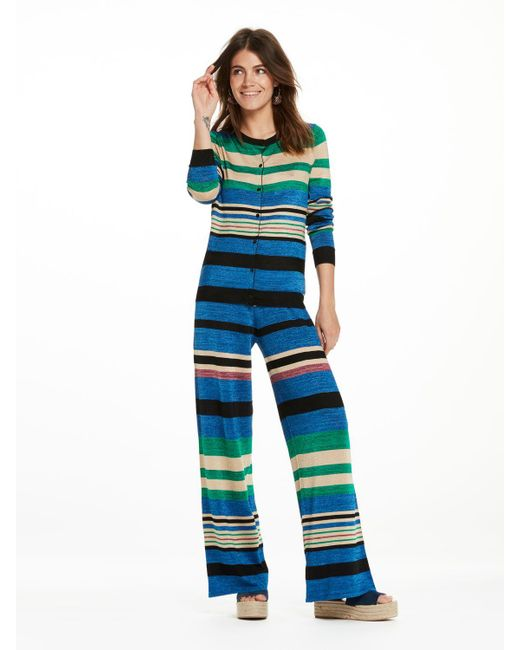 Scotch & Soda | Blue Striped Knitted Trousers | Lyst