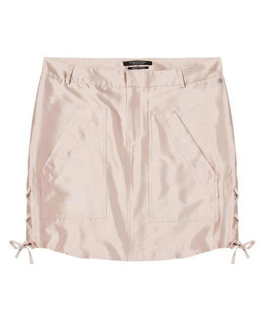 Scotch & Soda - Pink Shiny Safari Skirt - Lyst