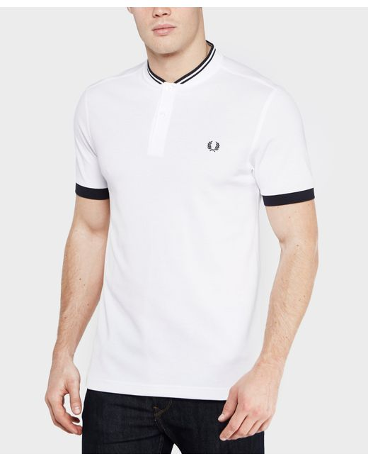 fred perry bomber polo shirt in white for men lyst. Black Bedroom Furniture Sets. Home Design Ideas