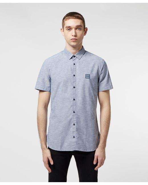83b431e71 BOSS - Blue Magneton Short Sleeve Shirt for Men - Lyst ...