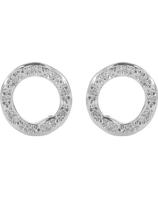 Monica Vinader   Metallic Riva Sterling Silver Pavé Diamond Circle Stud Earrings   Lyst