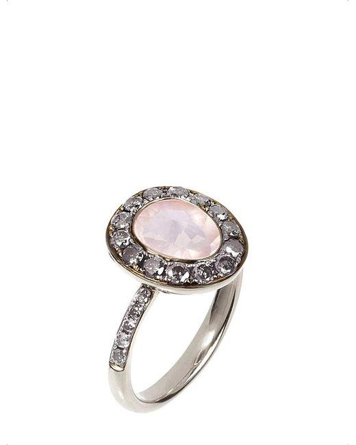 Annoushka | Metallic Dusty Diamonds 18Ct White-Gold, Rose Quartz And Grey Diamond Ring | Lyst