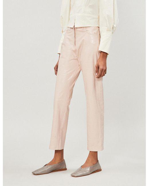 Nanushka - Pink Ivy Textured High-rise Vegan-leather Trousers - Lyst