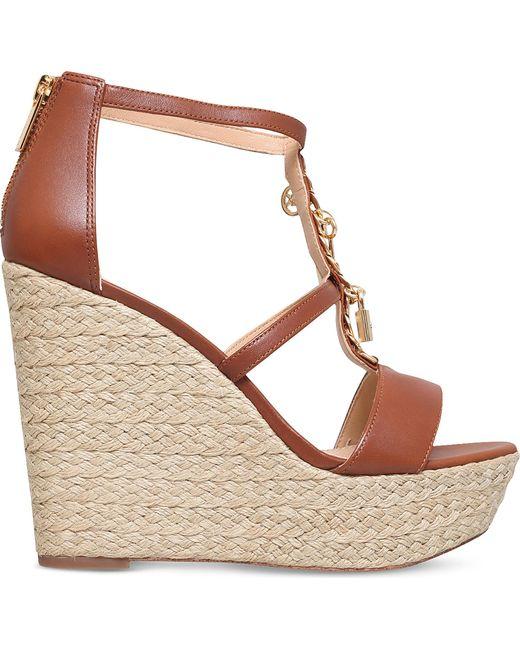 MICHAEL Michael Kors | Brown Suki Leather Platform Sandals | Lyst