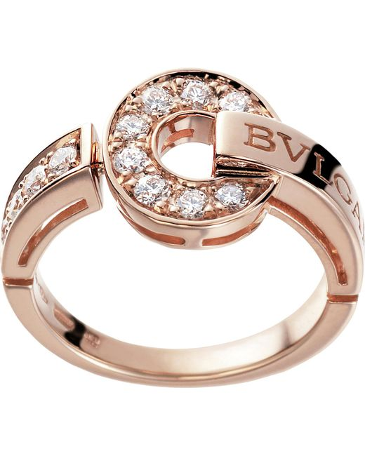 BVLGARI - - 18kt Pink-gold And Diamond Ring - Lyst