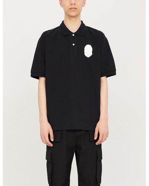 f1aafd09 A Bathing Ape - Black Logo-appliquéd Oversized Cotton-piqué Polo Shirt for  Men
