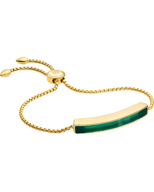 Monica Vinader - Black Baja 18ct Gold-plated Vermeil And Green Onyx Bracelet - Lyst