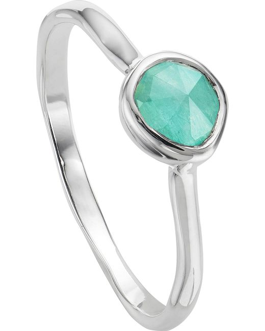 Monica Vinader | Metallic Siren Sterling Silver And Amazonite Small Stacking Ring | Lyst