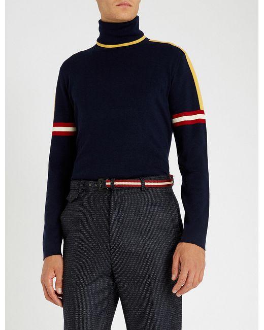Bally - Blue Stripe-trimmed Turtleneck Wool Jumper for Men - Lyst