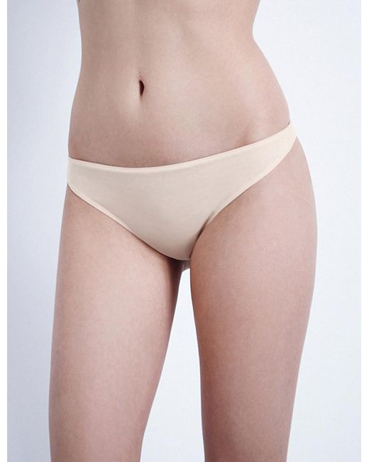 Hanro | Natural Ultralight Cotton Thong | Lyst