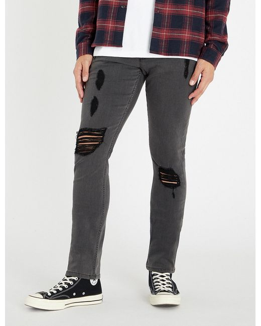 PAIGE - Gray Lennox Slim-fit Ripped Skinny Jeans for Men - Lyst