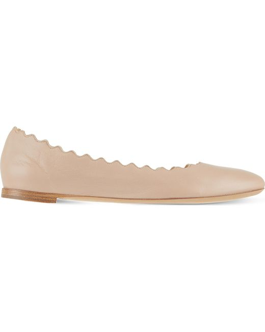 Chloé - Natural Scallop Leather Ballet Flats - Lyst