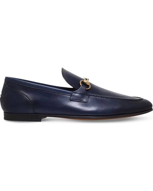 62ab49296c0 Lyst - Gucci Jordaan Leather Loafers in Blue for Men
