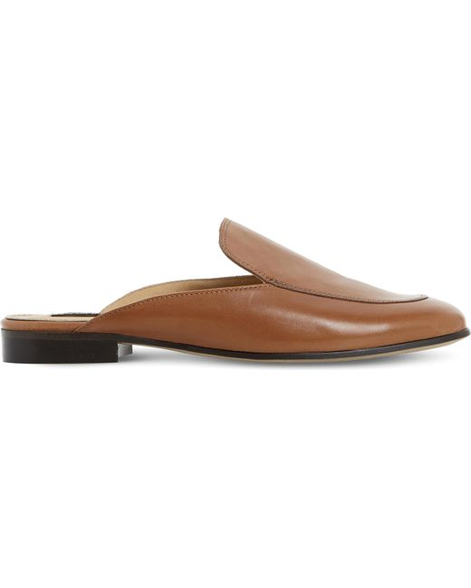 Dune Black | Brown Guilde Backless Leather Loafers | Lyst