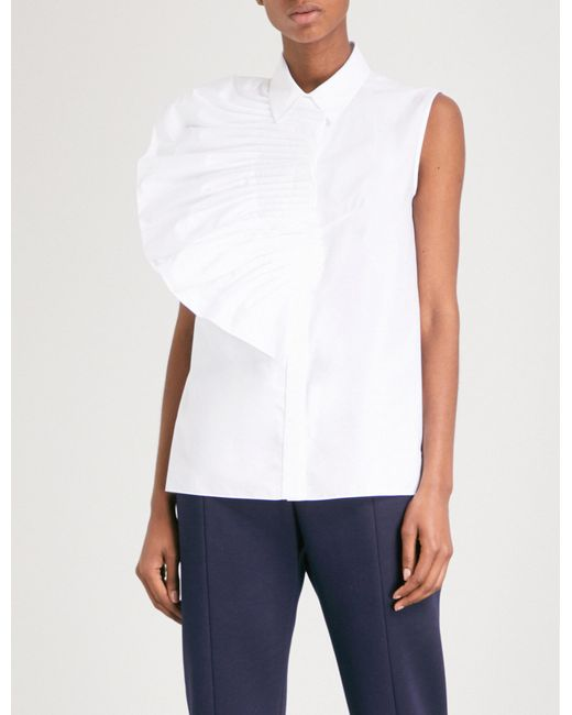 Delpozo - White Pleated Fan-detailed Cotton-poplin Shirt - Lyst