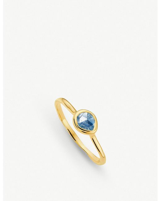 Monica Vinader - Blue Siren 18ct Gold Vermeil And Kyanite Small Stacking Ring - Lyst